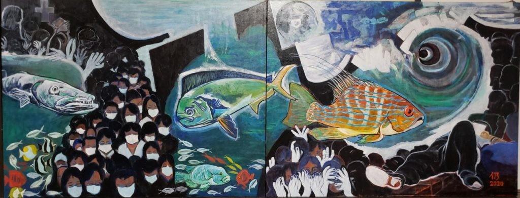 出口 仍康 魚たちは何を思う二題 (失くした自然への畏敬)  横2910縦1120   (F80号横長✖️2) 4 油彩画 理事