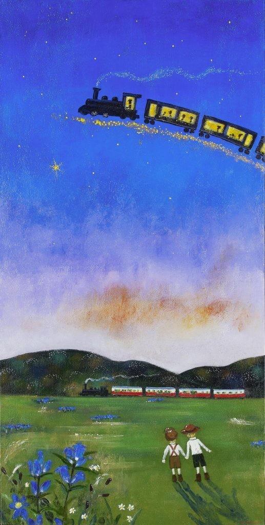 前田 麻里 「星をたどって」変形40号 油彩画 会員