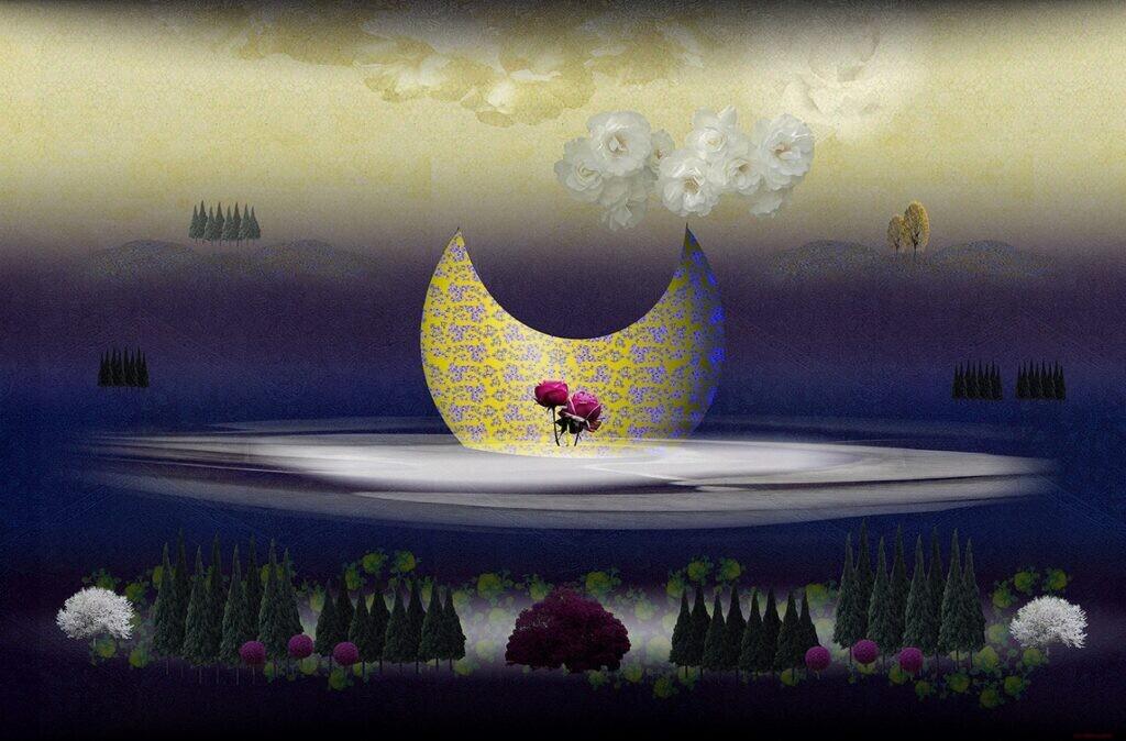 一般 松本青樹 花の幻影1 A3 ミックストメディヤ