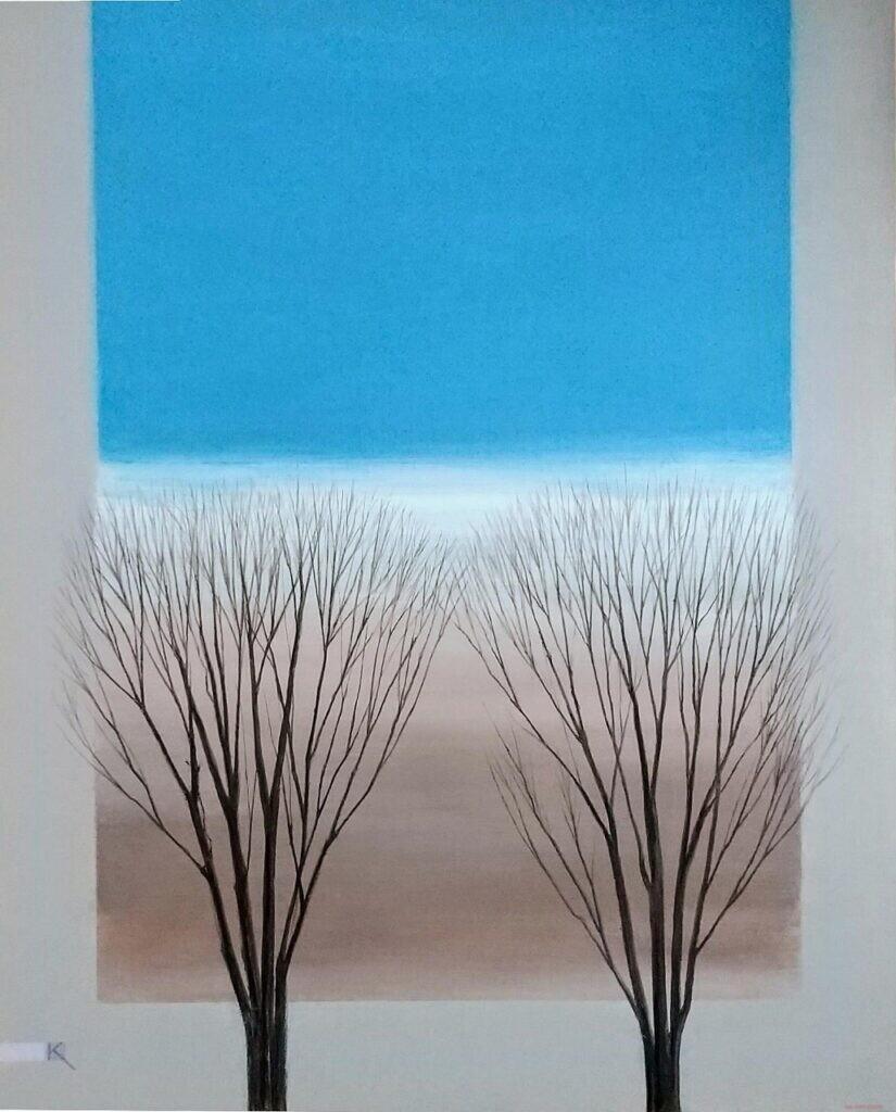 会員 岸 弘明 冬の欅#2 F15 油彩画 ¥120000