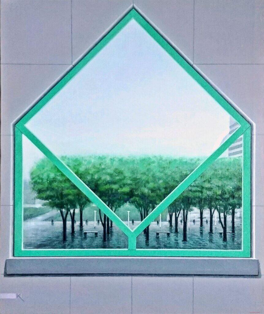 会員 岸 弘明 6月の窓 F15 油彩画 ¥120000