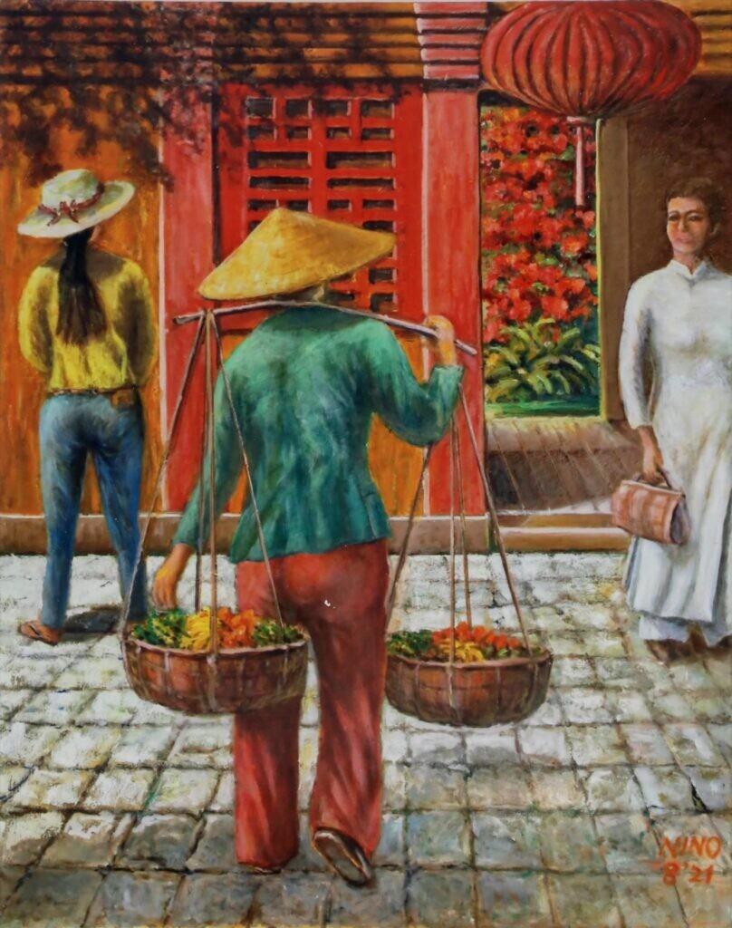 会友 二宮 浩司 ベトナムの街かど F30 油彩画