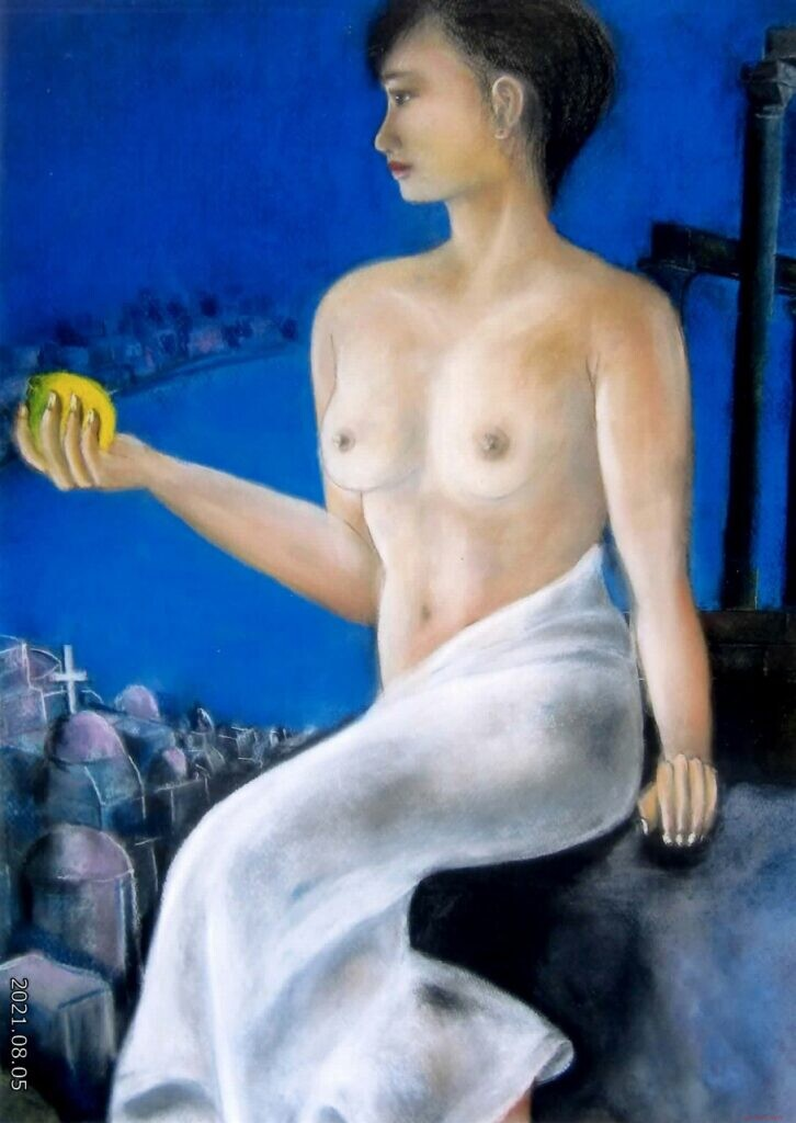 会友 志摩喜三 ミロのヴィナスに魅せられて 55-79(木炭紙大) パステル画