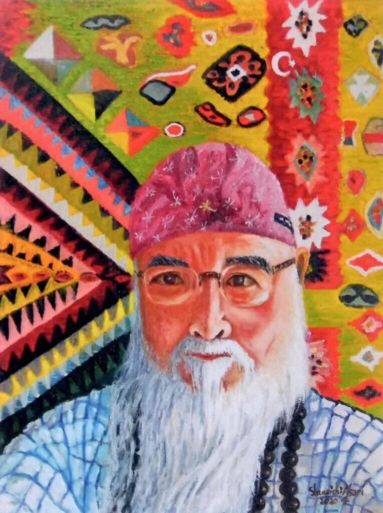 会友 浅利秀一 トルコ絨毯と私(自画像)F6号 油彩画