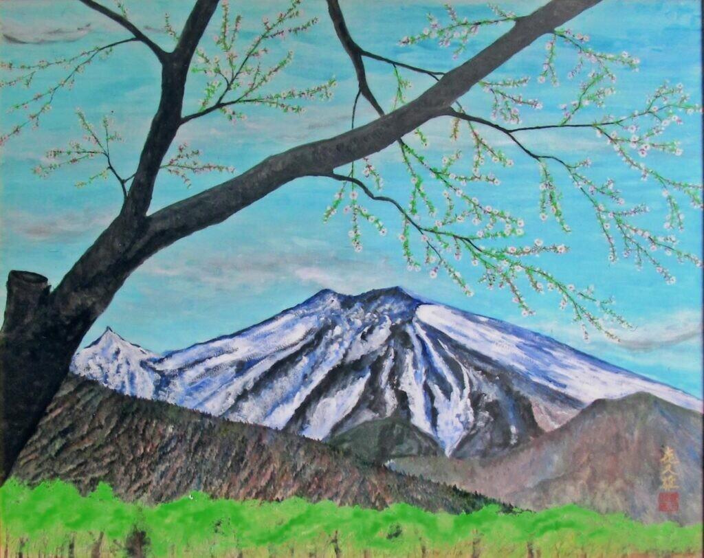 準会員 三戸 喜久雄 残雪の御嶽山 30号 日本画