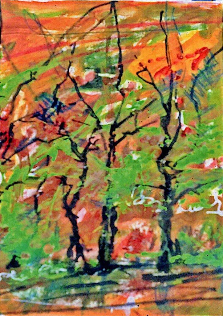 一般 古寺英敏 木立 A4 半抽象画 着色水彩