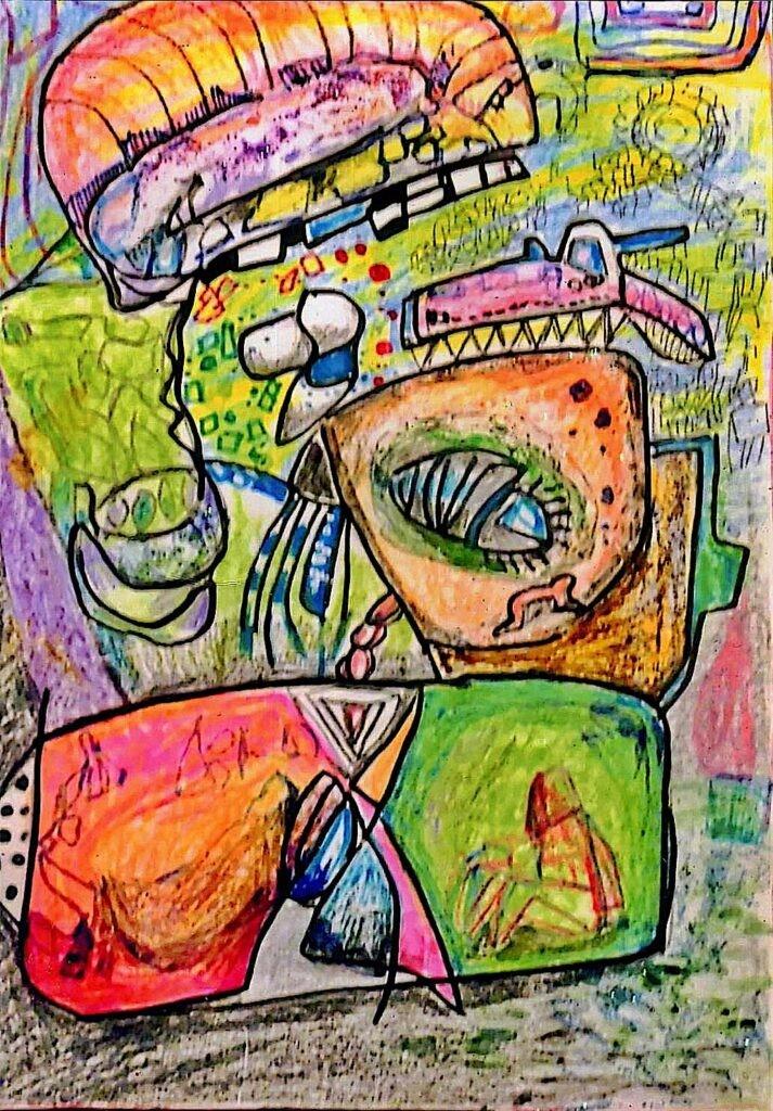 一般 古寺英敏 アメーバ A4 抽象画 着色水彩