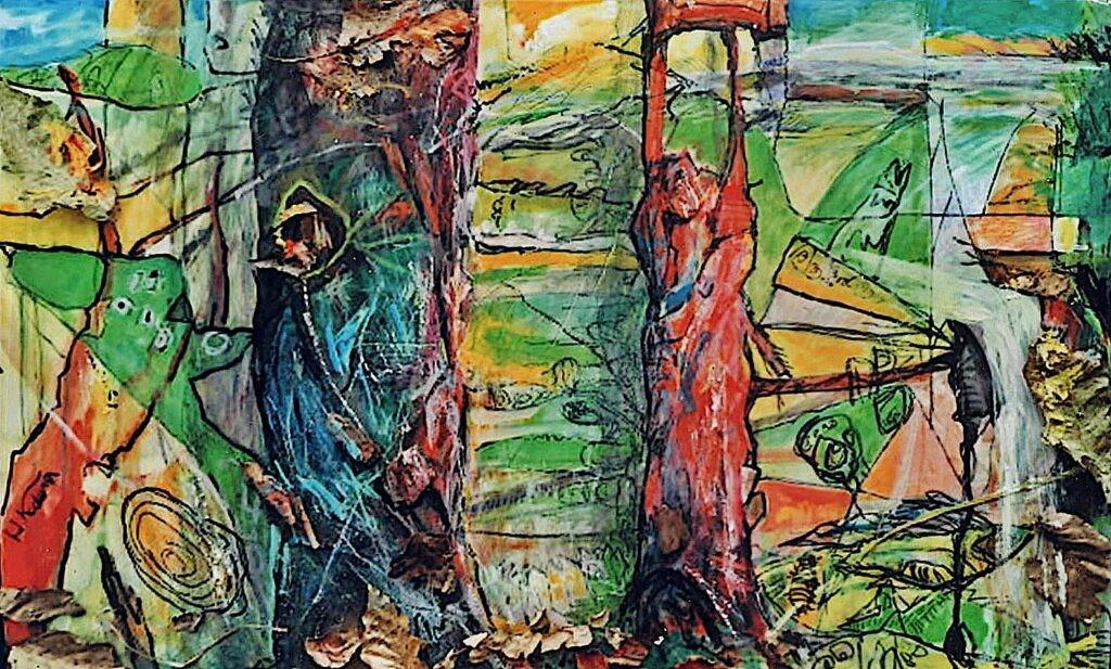 一般 古寺英敏 樹木 F6 抽象画 着色油彩