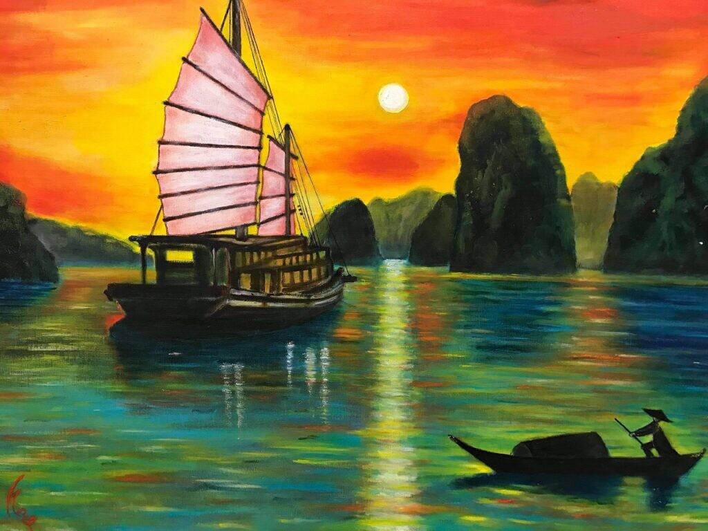 会員  阿久津 冴子  ハロン湾の夕陽  50号  油彩画