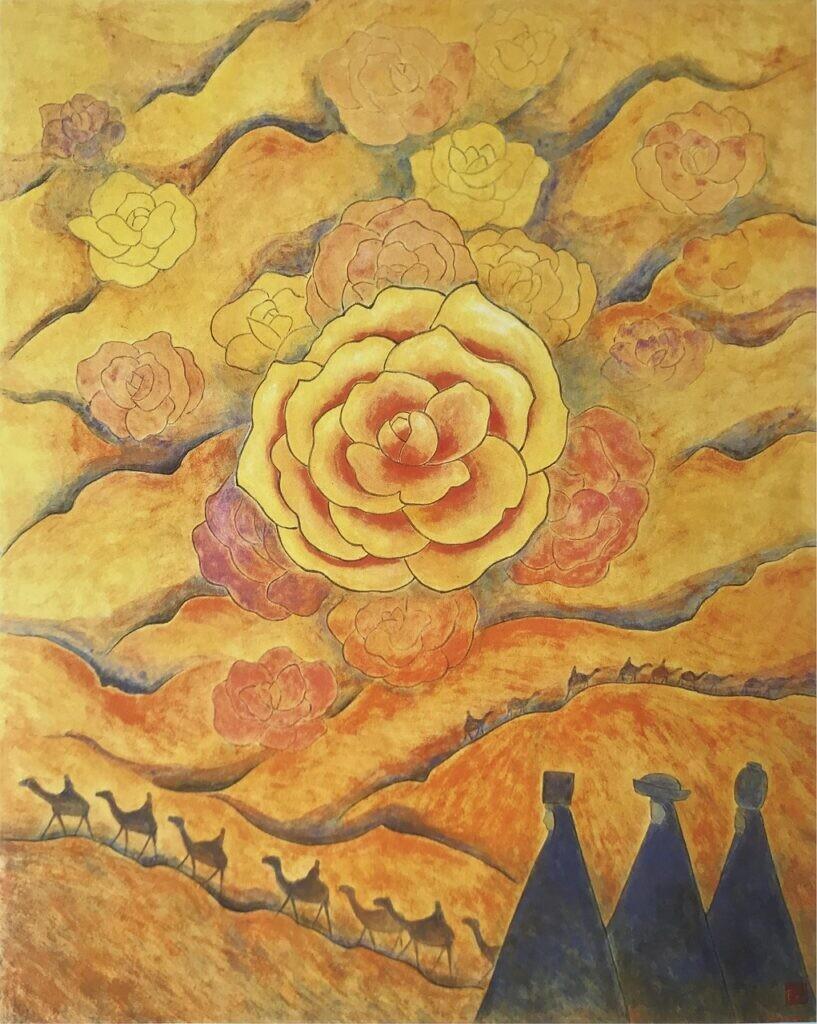 会員 近藤鍈子 砂漠のばら  100x80.3 日本画