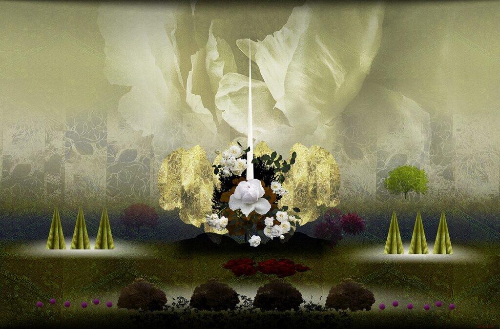 一般 松本青樹 花の幻影2 A3 ミックストメディヤ