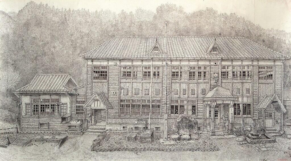 準会員 吉田迪子 旧光岩小学校 約2m×1m ペン画