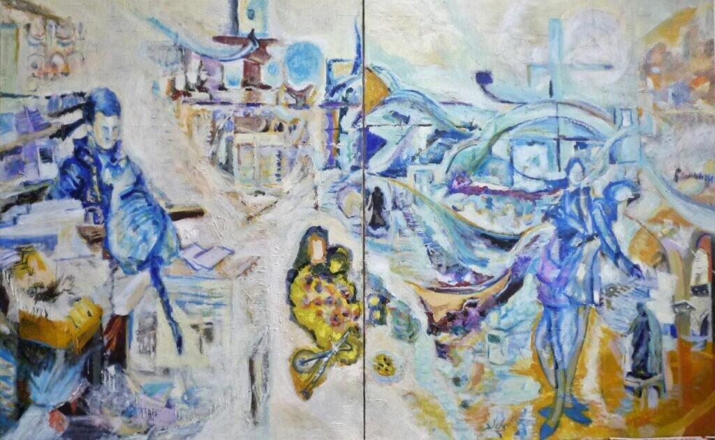 会友 風間由美子 ヴェニスの書店 (160cm×100cm) 油彩画