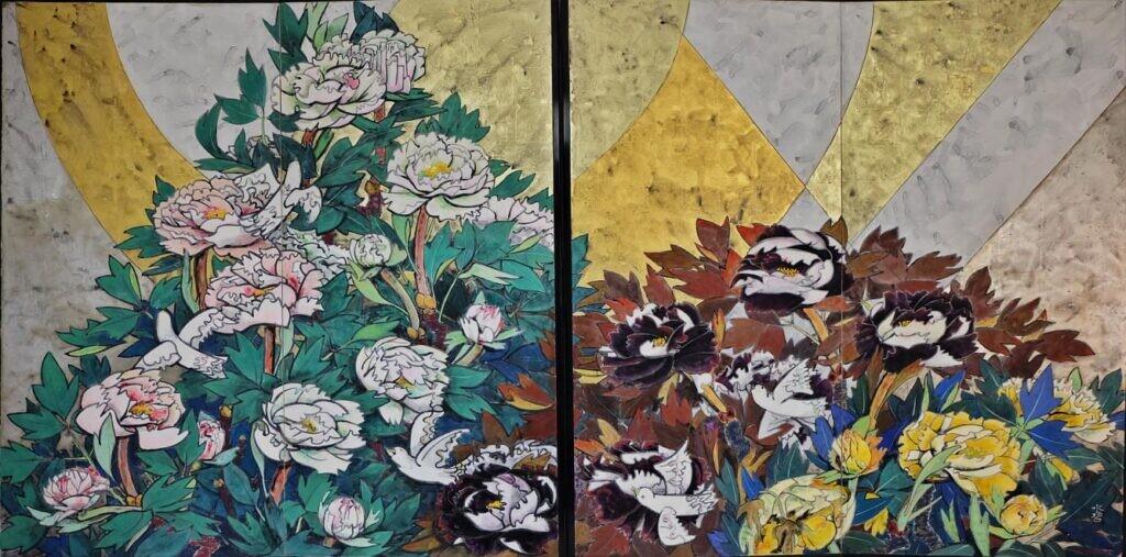 (故) 森 水碧 「牡丹」父への鎮魂歌 172x3300  1985年 19回創展