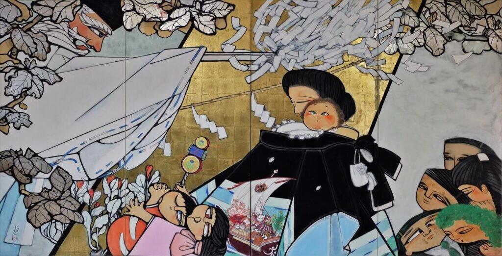 (故) 森 水碧 「皓」皓紀お宮参り 172x3300  1991年 25回創展