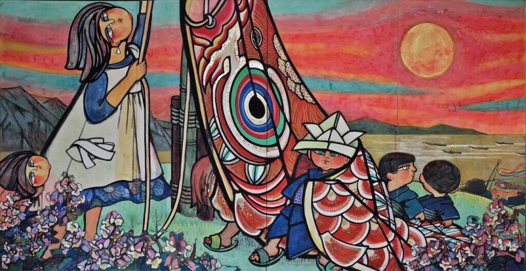 (故) 森 水碧 「大漁だーい」172x3300   1987年 21回創展